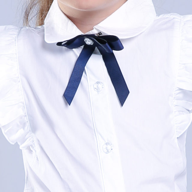 Girl's Classic Style Bow Decorated Shirt