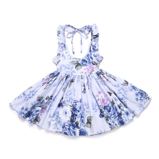 Girl's Floral Printed Ruffle Sleeved Dress and Hat Set