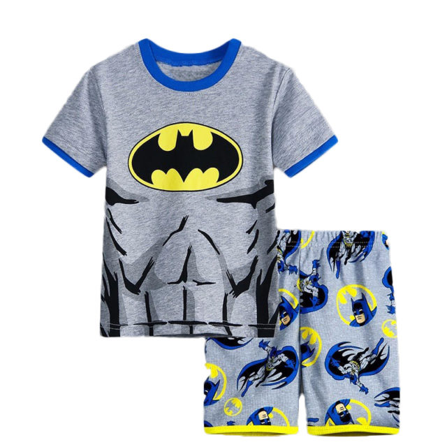 Boy`s Superhero Printed Cotton Pajamas Sets