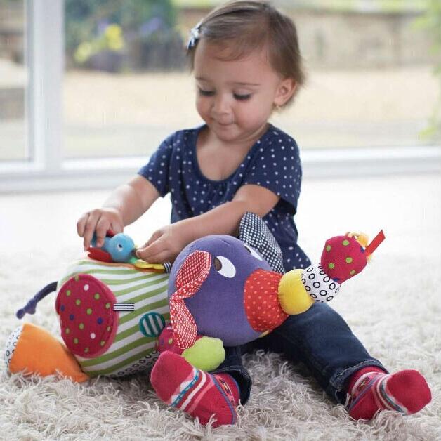 Lovely Elephant Shaped Colorful Plush Baby Toy