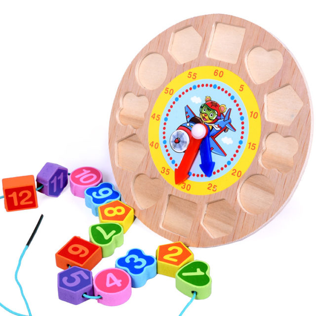 Cute Educational Wood Kid's Toy Clock
