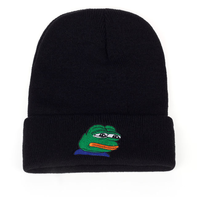 Beanie Hat with Pepe Frog Embroidery