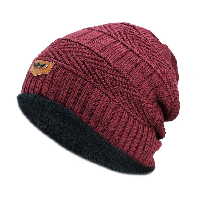 Warm Knitted Men's Beanie Hat with Thick Lining