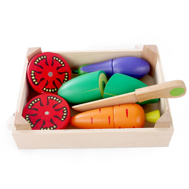 Learning Cooking Food Cutting Wooden Colorful Toy