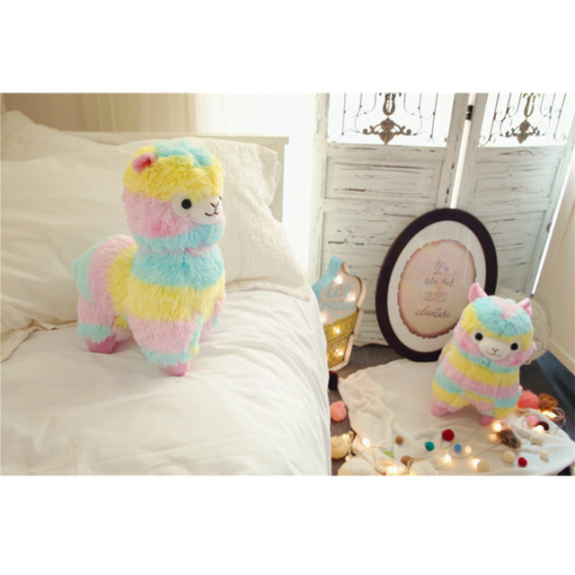 Smiling Rainbow Alpaca Plush Toy