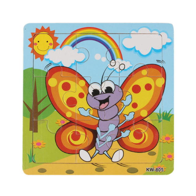 Kids' Small Colorful Wooden Jigsaw Puzzle with Animal Themed Pattern