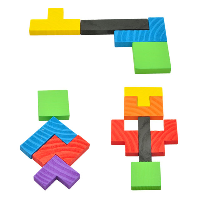 Kids' Compact Tetris Themed Colorful Wooden Tangram Puzzle