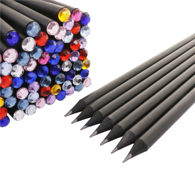 Crystals Decorated Office Pencils Set
