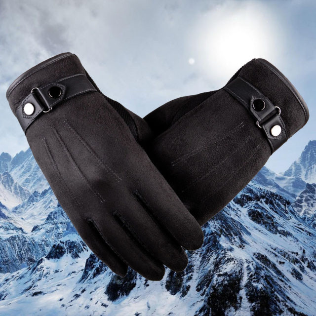 Faux Suede Leather Gloves
