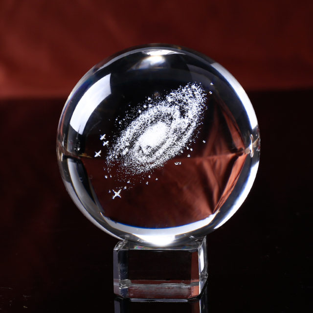 6 cm Crystal Ball with Galaxy Engraving