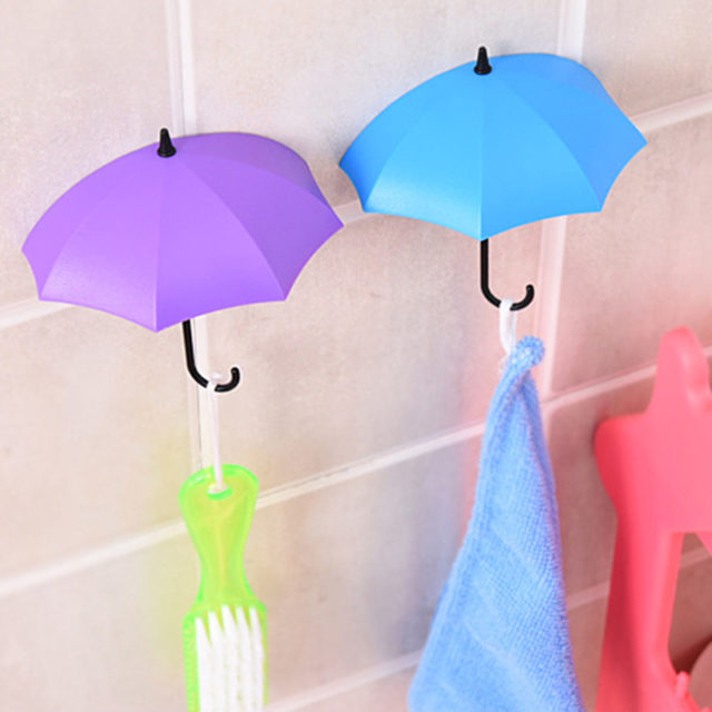Creative Colorful Umbrella Shaped Hooks For Bathroom Accessories