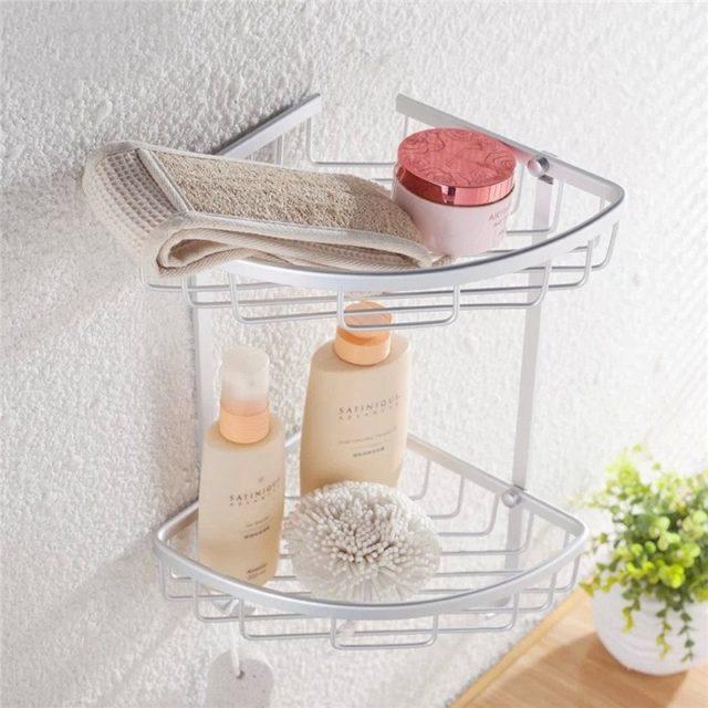 Bathroom Storage Silver Metal Corner Shelves