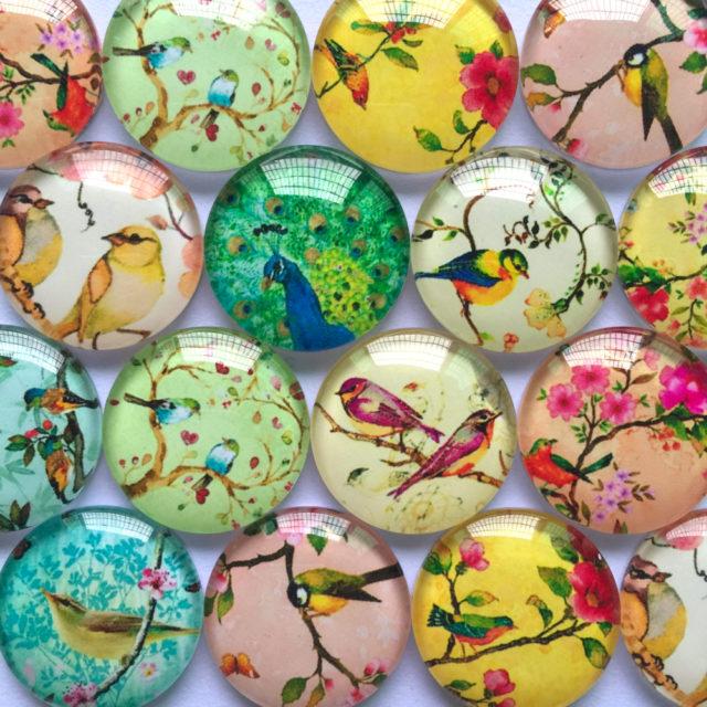 Bird Pattern Glass Cabochon Set