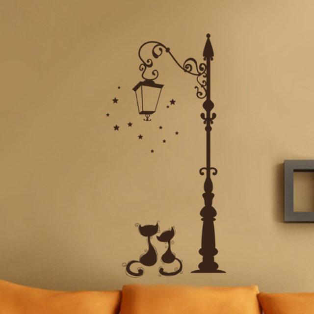 Girl's Romantic Cats Wall Sticker