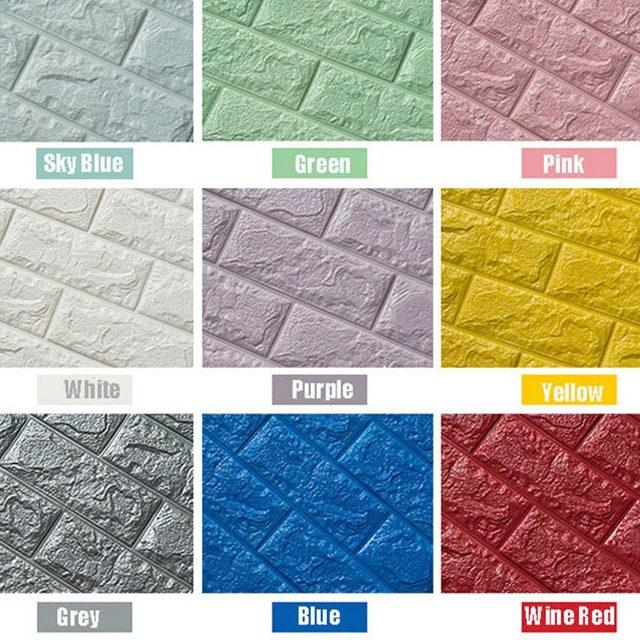 Brick Printed Foam Plastic Wall Sticker