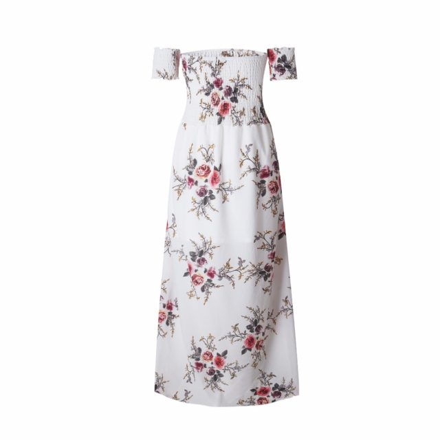 Women's Boho Off Shoulder Dress With Floral Print