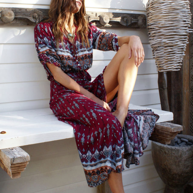 Women's Bohemian Floral Patterned Dress