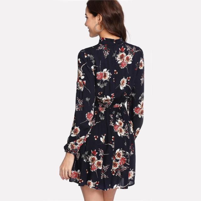 Floral Printed Chiffon A-Line Mini Dress