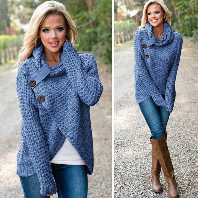 Women's Winter Knitted Wrap Collar Cross Sweater