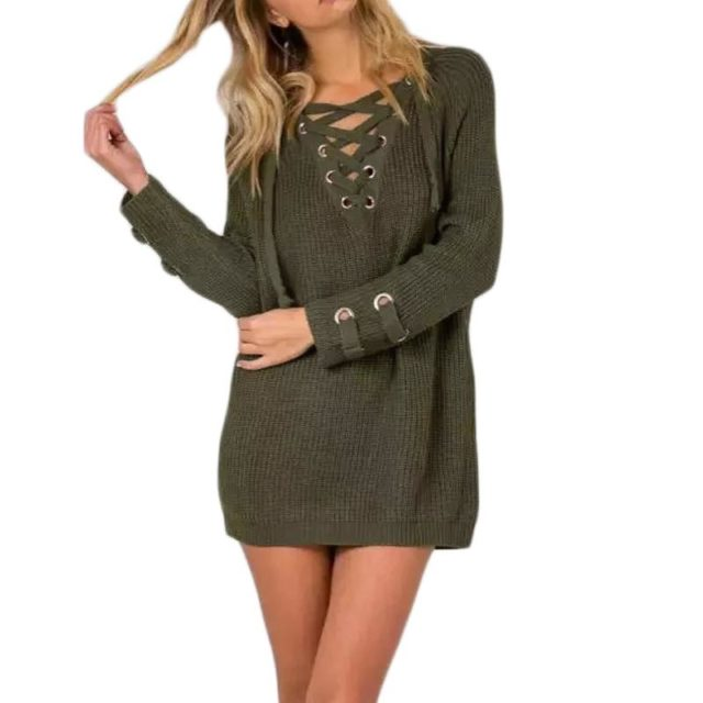 Trendy Oversize Lace-Up Knitted Women's Sweater