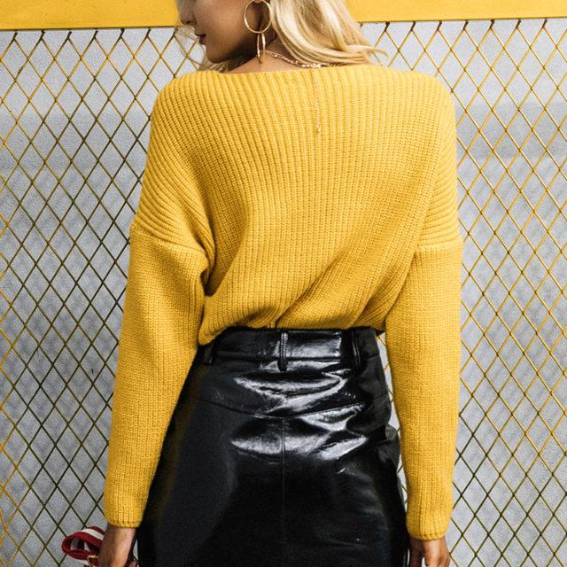 Women's Knitted Deep V-Neck Sweater