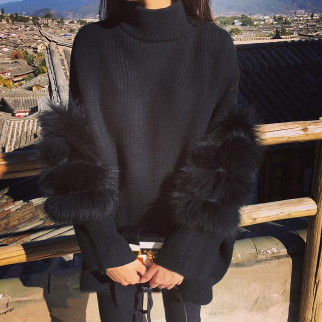Women's Fluffy Oversize Sweater with Fur