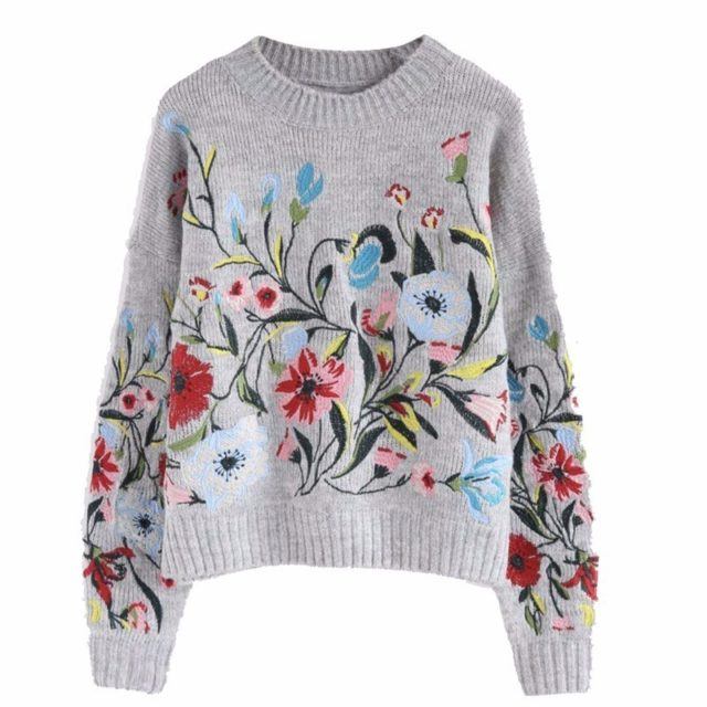 Women`s O-Neck Knitted Floral Printed Sweater