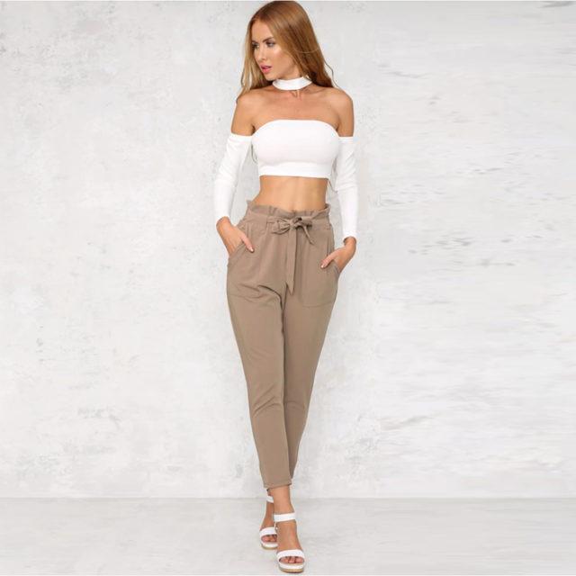 Women's High Waist Elastic Pants