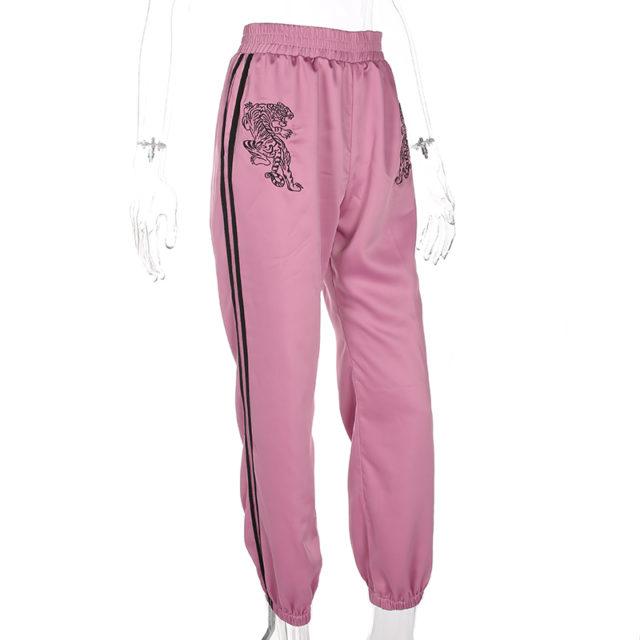 Women's High Waist Tiger Printed Silk Pants