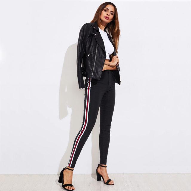 Women's Striped Skinny Pants