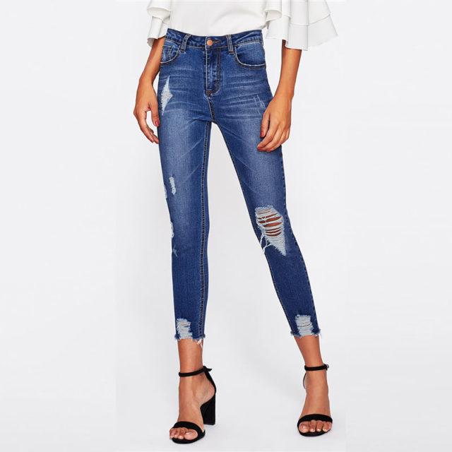 Women's Skinny High Waist Ripped  Jeans