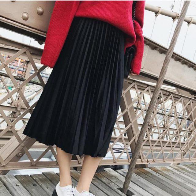 Women's High Waist Pleated Skirt