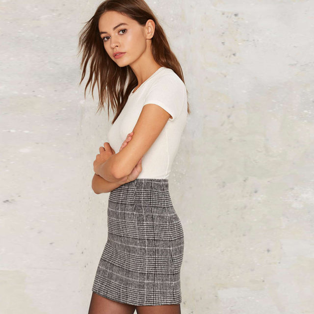 Women's Plaid Patterned Mini Skirt