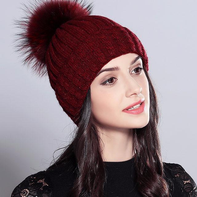 Women's Fur Pom Pom Hat