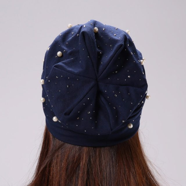 Women's Casual Hat with Pearls & Rhinestone