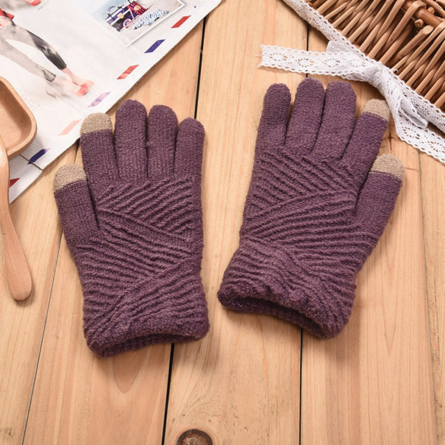 Women's Winter Woolen Smartphone Gloves