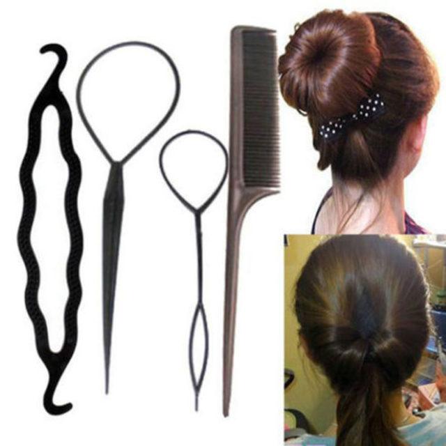 Women's Black Plastic DIY Hair Styling Tools 4 pcs Set