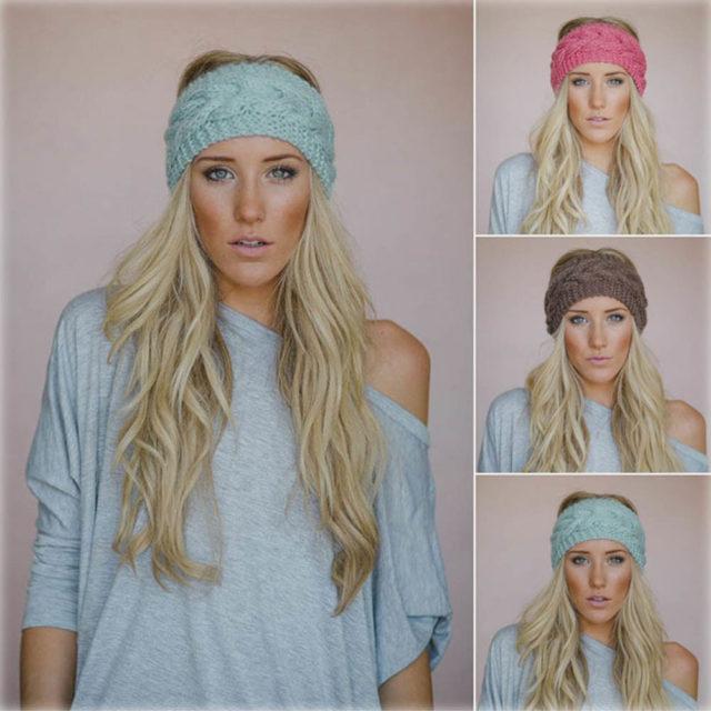 Women's Wide Knitted Woolen Headband