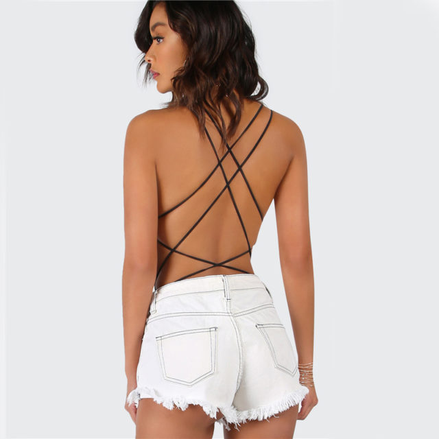 Women's Backless Straped Bodysuit
