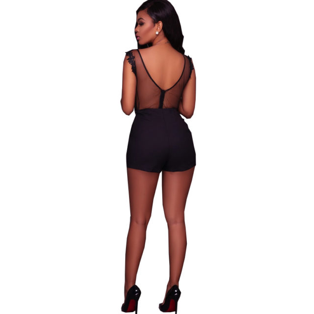 Women's Mesh Floral Embroidery Backless Bodysuit