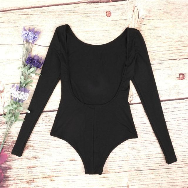 Women's Long Sleeve Backless Bodysuit