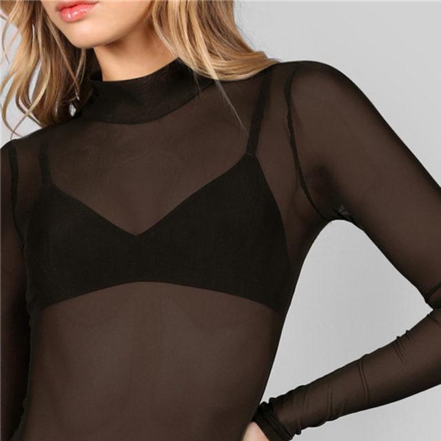 Fashion Long-Sleeved Transparent Women's Bodysuit