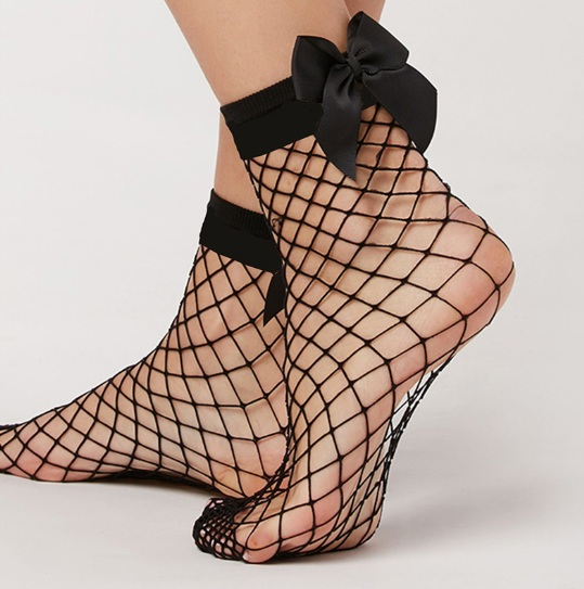 Women's Fishnet Socks With Bow