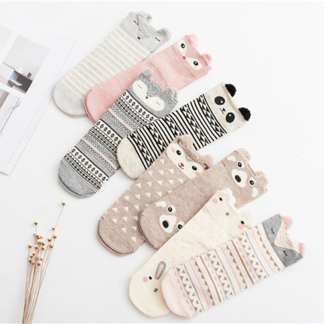 Women's Animal Patterned Striped Socks