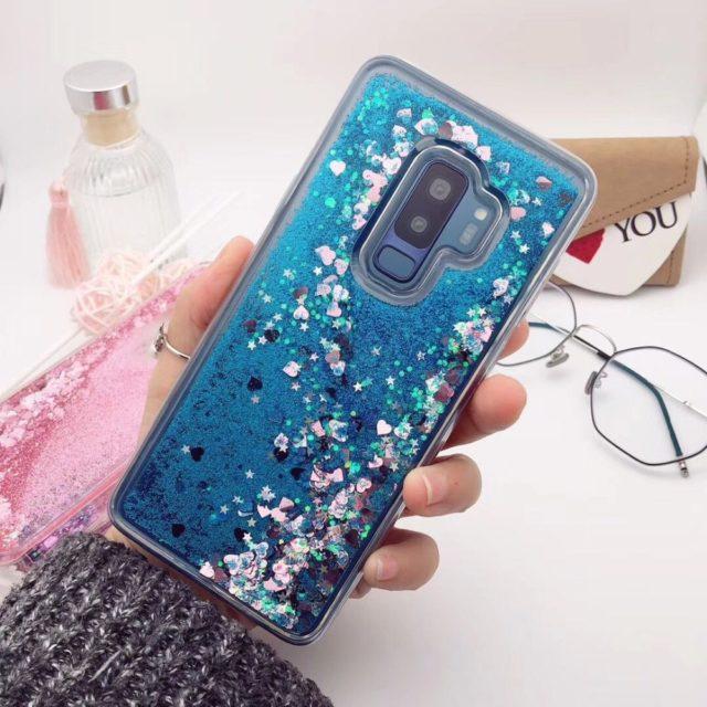 Liquid case for Samsung Galaxy A6 A8 Plus 2018 S8 S9 Plus S6 S7 Edge J5 J7 J3 A3 A5 A7 2017 Glitter Love Silicone PC Full Cover