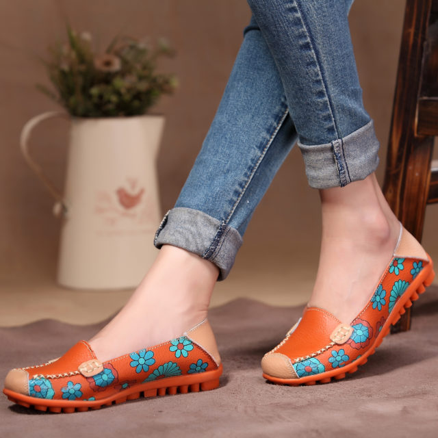 Cute Summer Casual Leather Women's Flat Shoes