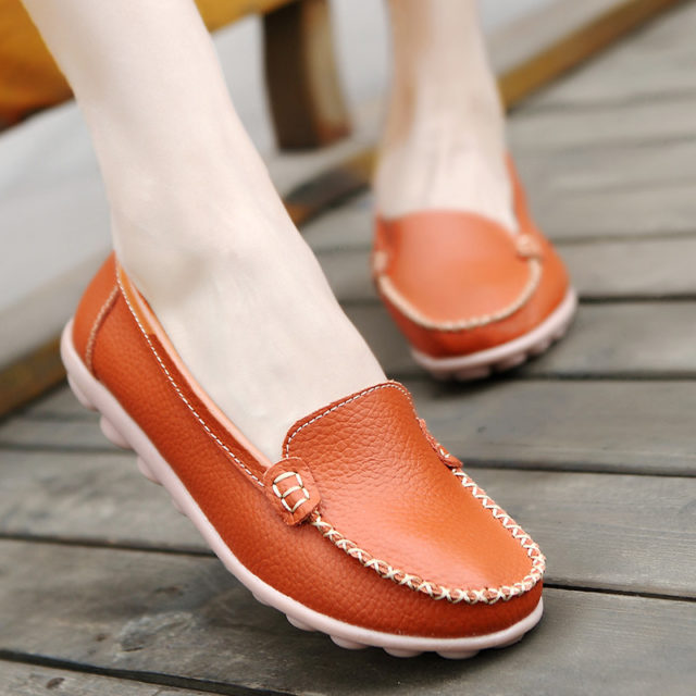 Casual Slip-On Leather Women's Loafer Shoes