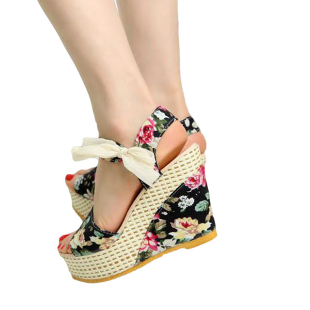 Floral Open-Toe Wedge Sandals