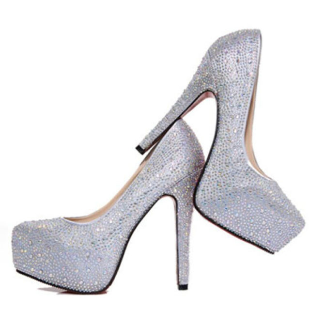 Crystal Glittery Women's High Heel Shoes