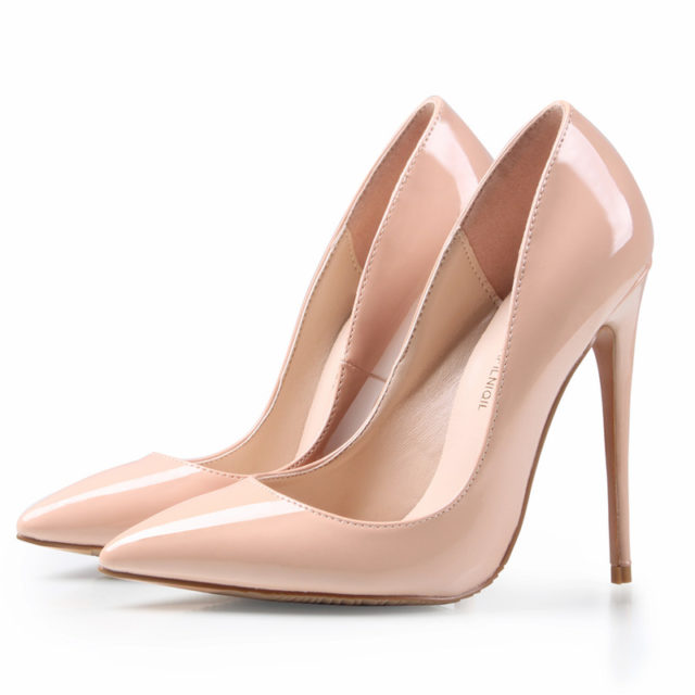 Women's Pointed Leather Nude Pumps